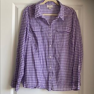 LOFT Purple Gingham Blouse
